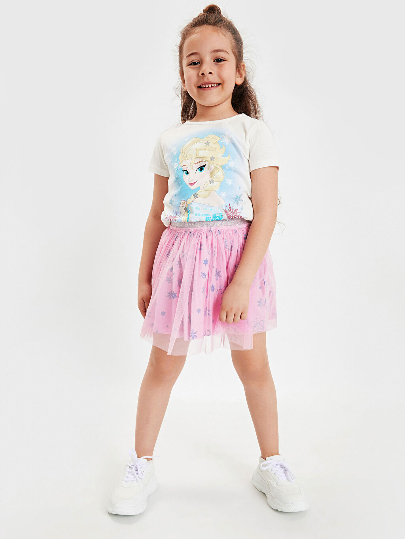 Ekru Kız Çocuk Elsa Tişört ve Etek 9SR968Z4 LC Waikiki