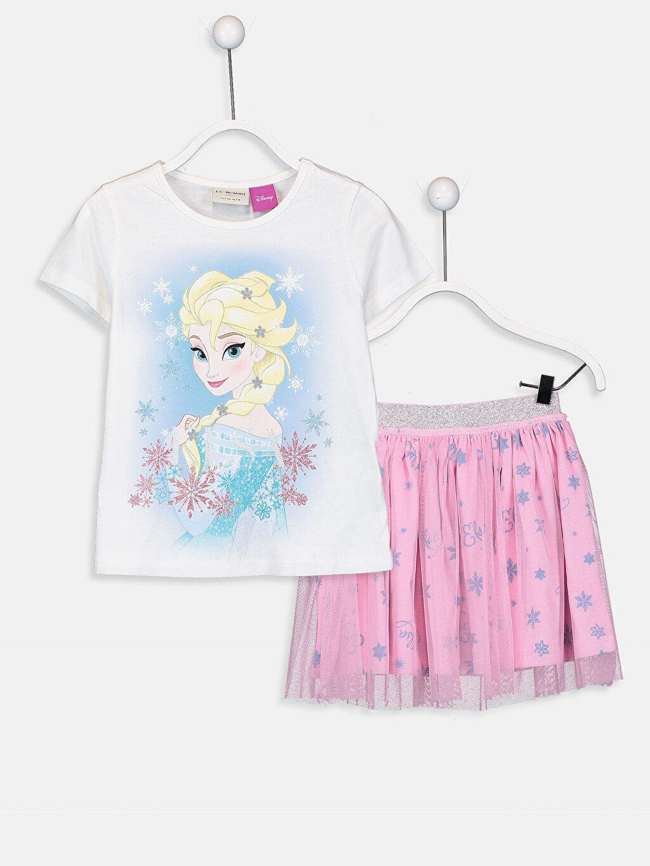 Kız Çocuk Kız Çocuk Elsa Tişört ve Etek