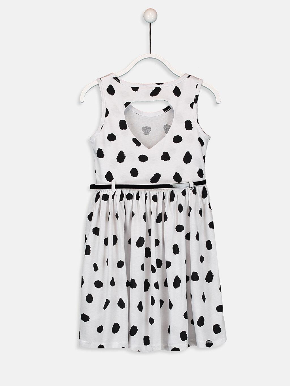 %100 Pamuk %100 Poliüretan Kloş Süprem Elbise Bebe Yaka Baskılı Diz Üstü Kız Çocuk Pamuklu Elbise ve Kemer