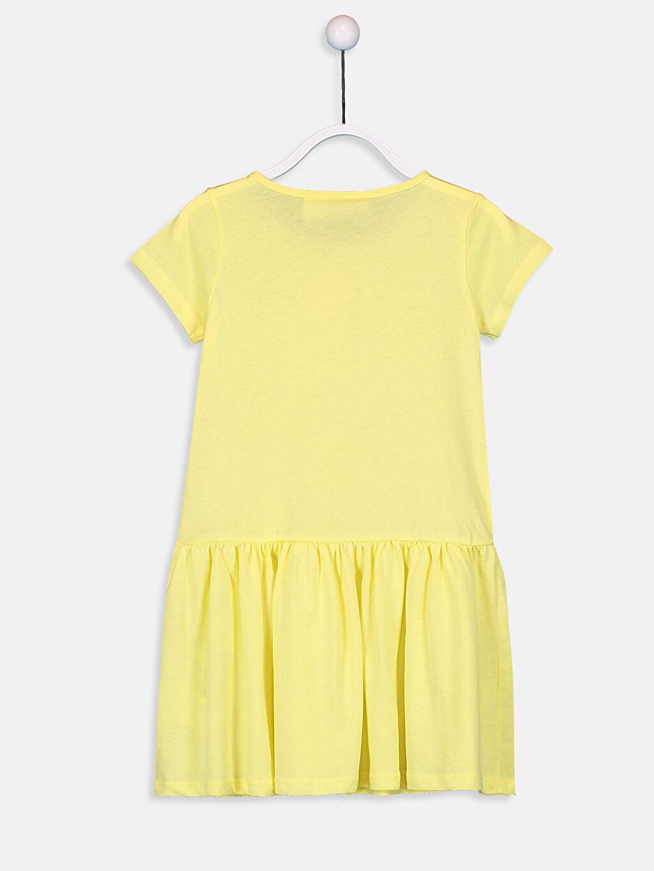 %100 Pamuk Süprem Bebe Yaka Baskılı Elbise Mini Kız Çocuk Minnie Mouse Pamuklu Elbise