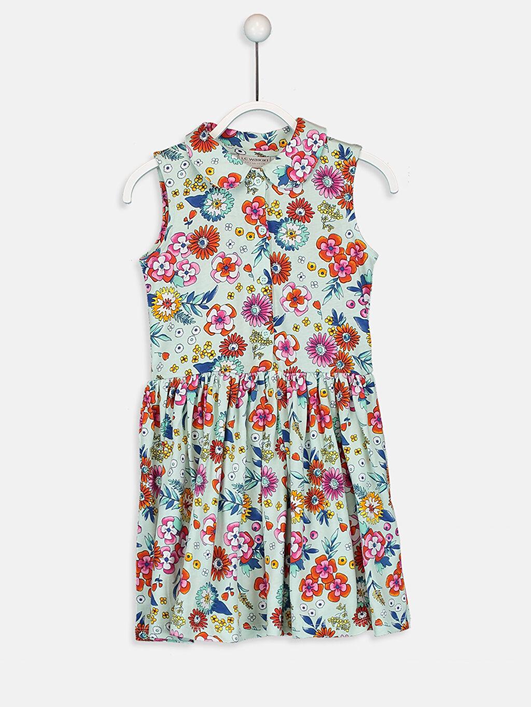 Ekru Kız Çocuk Desenli Pamuklu Elbise 9ST689Z4 LC Waikiki