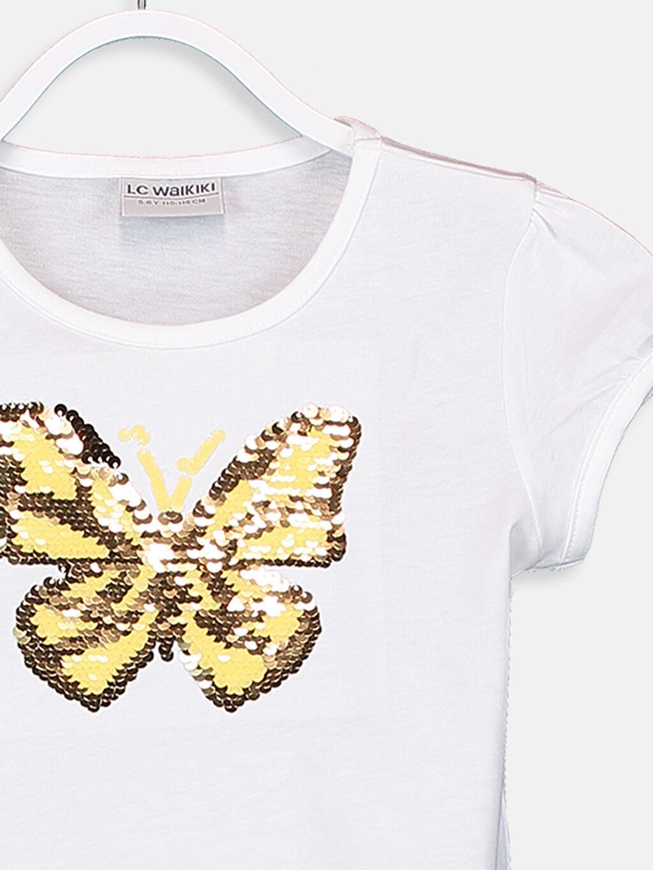 %100 Pamuk Kız Çocuk Çift Yönlü Payetli Pamuklu Tişört