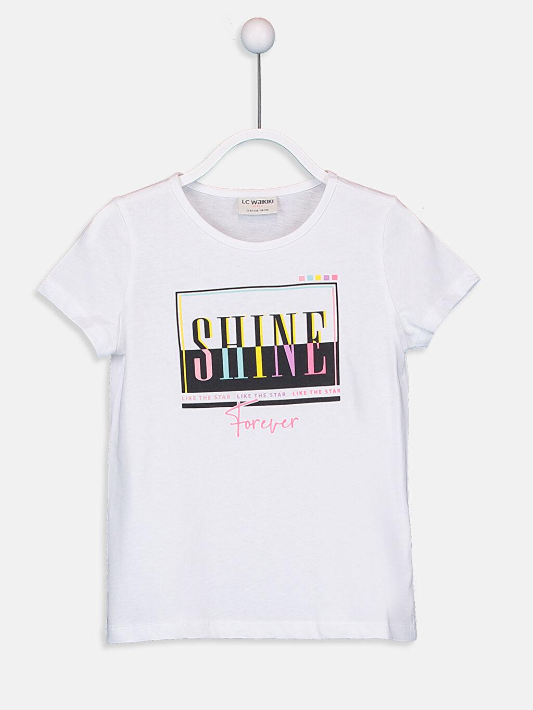 Beyaz Kız Çocuk Baskılı Pamuklu Tişört 9SV125Z4 LC Waikiki
