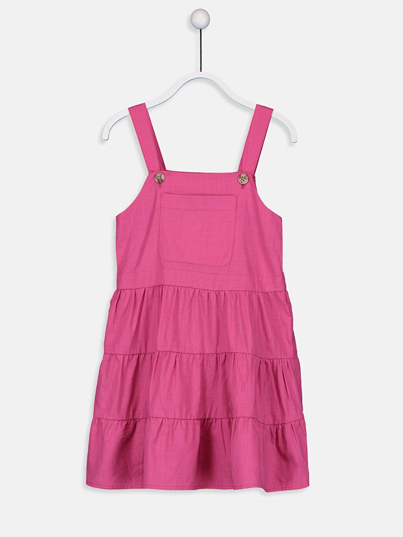 Fuşya Kız Çocuk Cep Detaylı Pamuklu Elbise 9SV484Z4 LC Waikiki