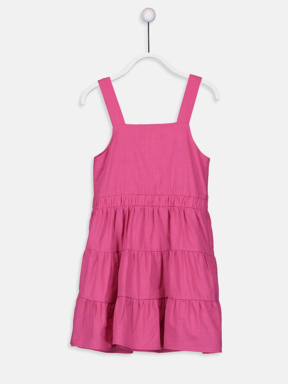 %100 Pamuk Düz Poplin Elbise Diz Üstü Kız Çocuk Cep Detaylı Pamuklu Elbise