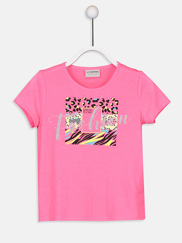 Fuşya Kız Çocuk Baskılı Tişört 9SV751Z4 LC Waikiki