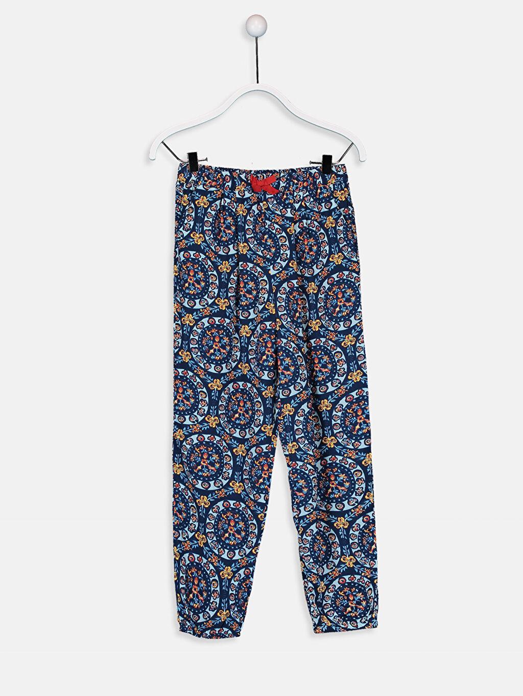 Lacivert Kız Çocuk Desenli Viskon Pantolon 9SV918Z4 LC Waikiki