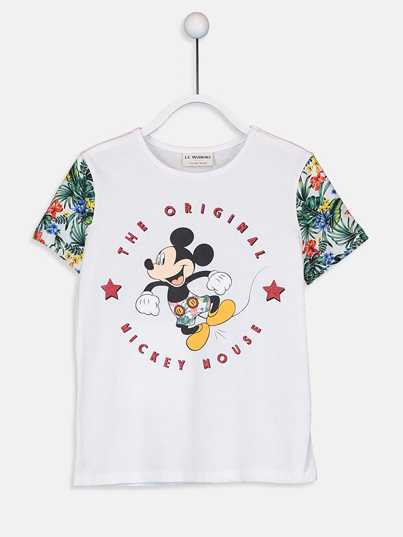 %100 Pamuk Bisiklet Yaka Kısa Kol Standart Baskılı Tişört Kız Çocuk Mickey Mouse Baskılı Pamuklu Tişört