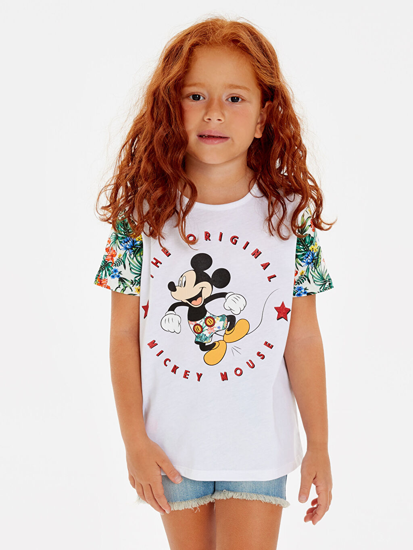 Ekru Kız Çocuk Mickey Mouse Baskılı Pamuklu Tişört 9SY794Z4 LC Waikiki