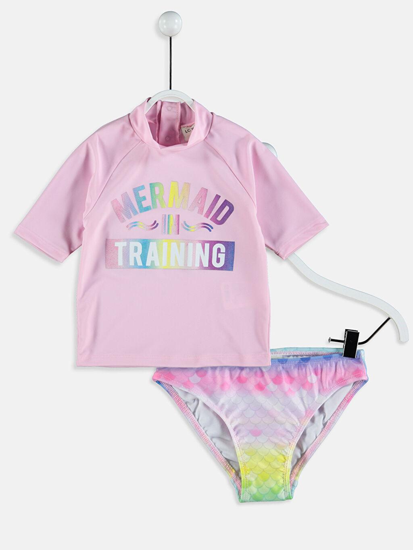 Pembe Kız Çocuk Baskılı Yüzme Takım 9SY874Z4 LC Waikiki