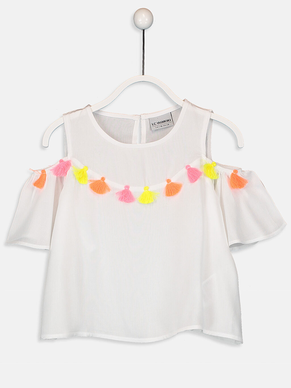 Beyaz Kız Çocuk Püskül Detaylı Viskon Bluz 9SY927Z4 LC Waikiki