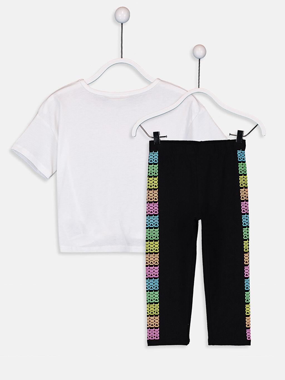 %100 Pamuk  Kız Çocuk Yazı Baskılı Pamuklu Tişört ve Tayt