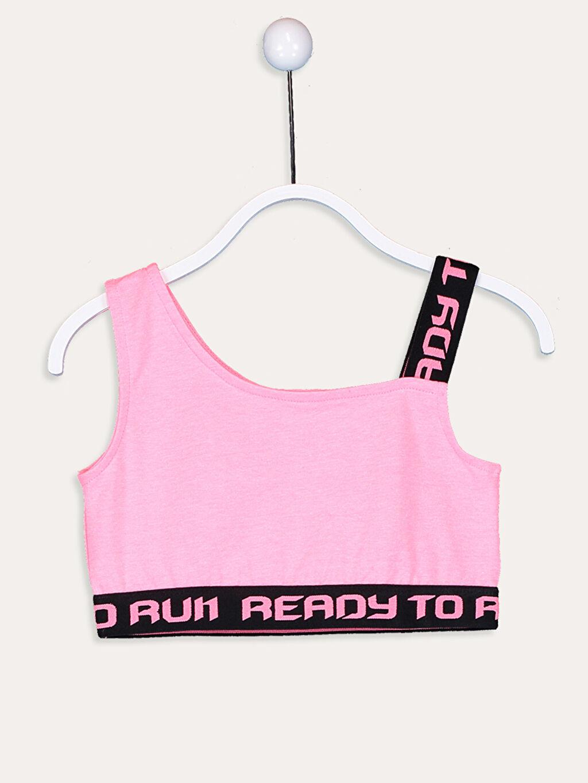 Pembe Kız Çocuk Slogan Baskılı Yarım Atlet 9SA795Z4 LC Waikiki