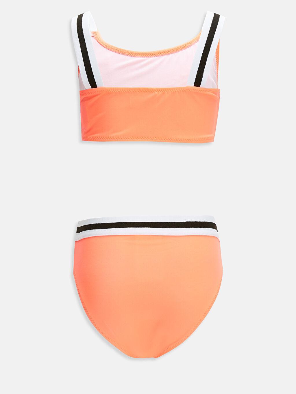 %80 Polyester %20 Elastan %90 Polyester %10 Elastan Bikini Düz Bikini Aksesuarsız Kız Çocuk Volanlı Bikini