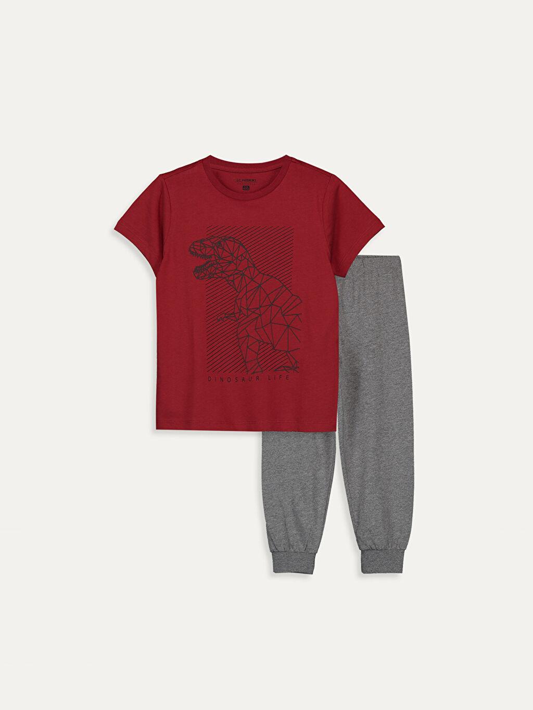 Kırmızı Erkek Çocuk Baskılı Pamuklu Pijama Takımı 9SC672Z4 LC Waikiki