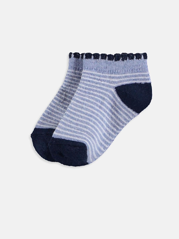%55 Pamuk %18 Poliester %24 Poliamid %1 Metalik iplik %2 Elastan Orta Kalınlık Patik Çorap Dikişli Çizgili Kız Bebek Patik Çorap 4'lü