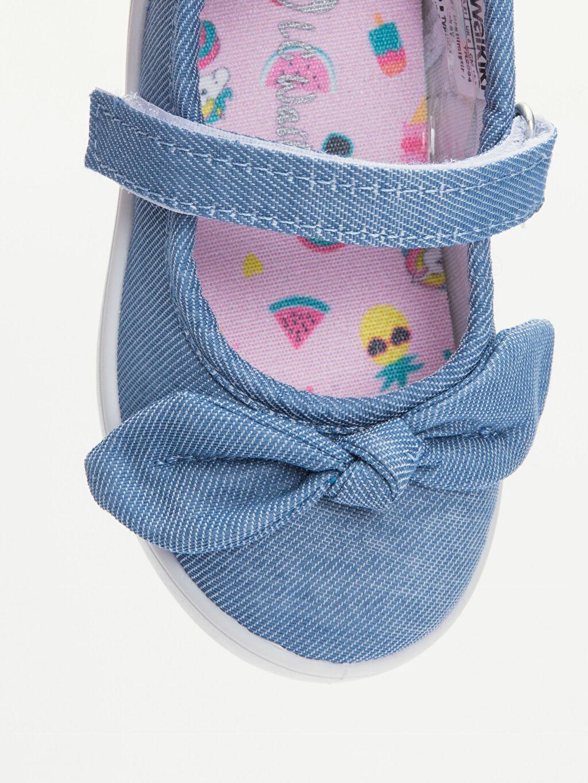 LC Waikiki İndigo Kız Bebek Fiyonklu Babet Ayakkabı
