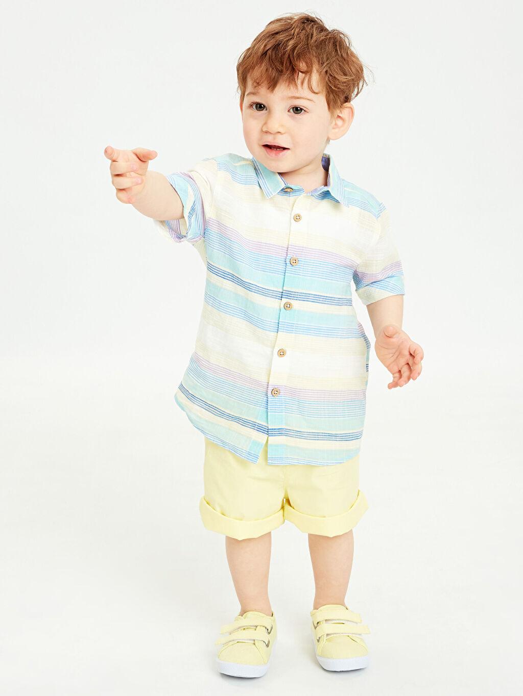 Mavi Erkek Bebek Kısa Kollu Gömlek Ve Şort 9S7476Z1 LC Waikiki