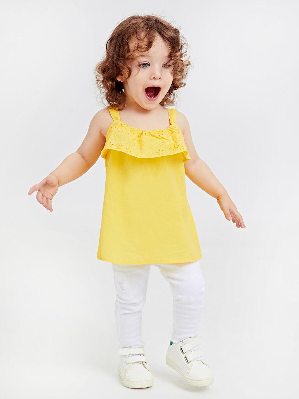 %100 Pamuk Kız Bebek Poplin Bluz