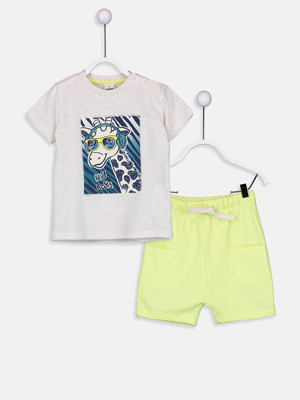 Gri Erkek Bebek Pamuklu Tişört ve Şort 9SH310Z1 LC Waikiki