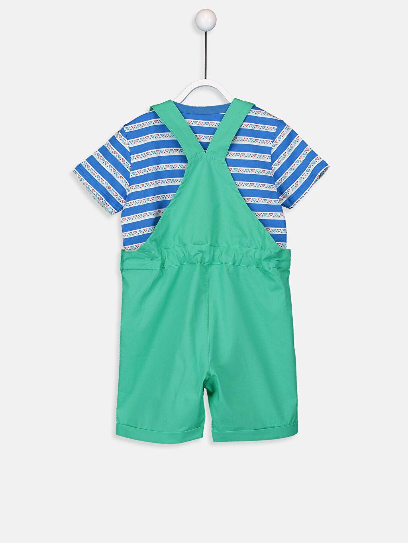 %100 Pamuk %100 Pamuk Takım Erkek Bebek Tişört ve Salopet