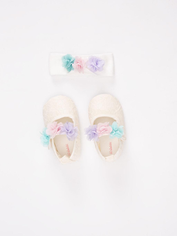 Ekru Kız Bebek Cırt Cırtlı Ayakkabı 9SK320Z1 LC Waikiki