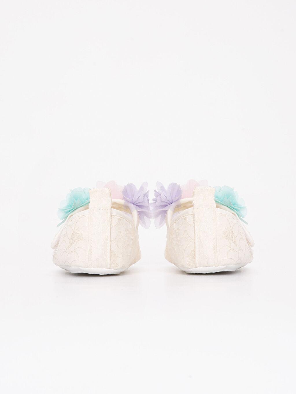 Ekru Kız Bebek Cırt Cırtlı Ayakkabı