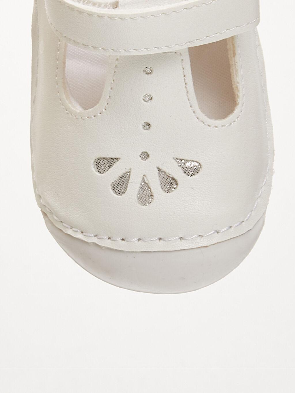 Beyaz Kız Bebek İlk Adım Cırt Cırtlı Ayakkabı