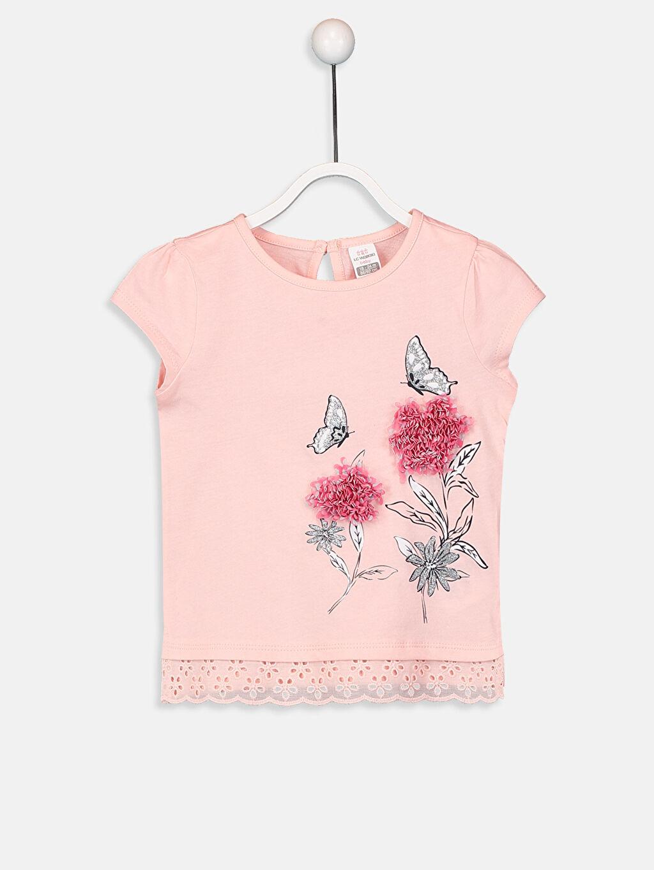 Pembe Kız Bebek Pamuklu Baskılı Tişört 9SO925Z1 LC Waikiki
