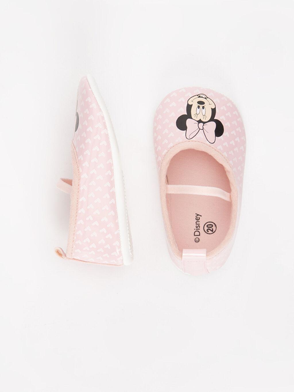 Kız Bebek Minnie Mouse Baskılı Ayakkabı ve Saç Bandı