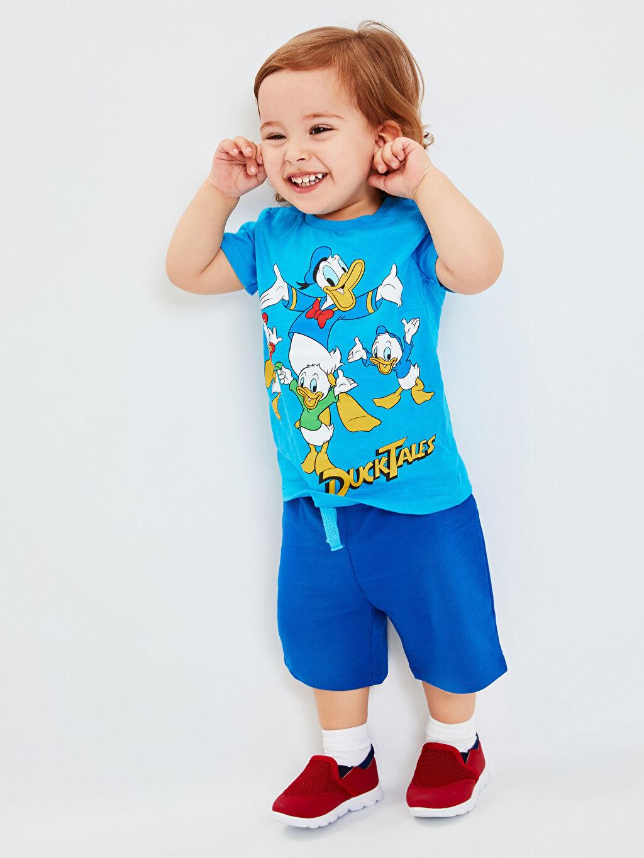 Mavi Erkek Bebek Donald Duck Desenli Tişört ve Şort 9SQ105Z1 LC Waikiki