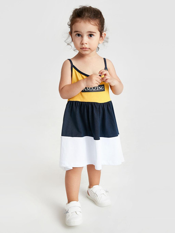Sarı Kız Bebek Baskılı Pamuklu Elbise 9SQ320Z1 LC Waikiki