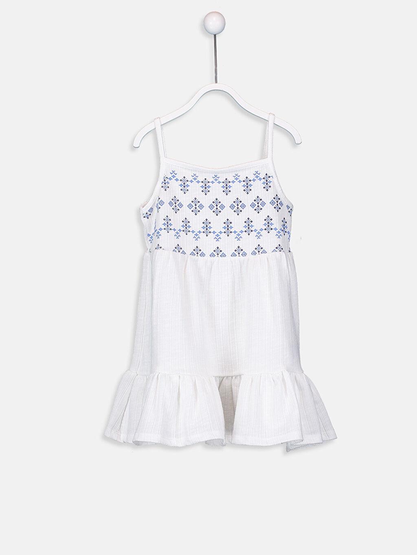 Ekru Kız Bebek Desenli Pamuklu Elbise 9SQ813Z1 LC Waikiki