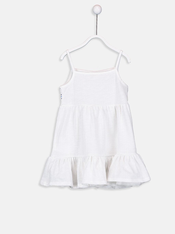 %66 Pamuk %34 Polyester Elbise Kolsuz Kare Yaka Baskılı A Kesim Kız Bebek Desenli Pamuklu Elbise