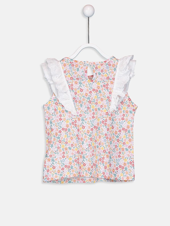 %100 Pamuk Süprem Tişört Fırfırlı Bisiklet Yaka Düz Kız Bebek Desenli Tişört