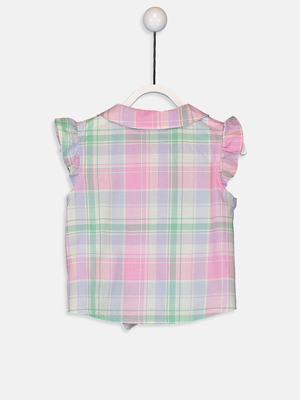 %98 Pamuk %1 Polyester %1 Metalik iplik Kısa Kol Önden Bağlama Poplin Gömlek Ekose Bebe Yaka Kız Bebek Ekose Poplin Gömlek