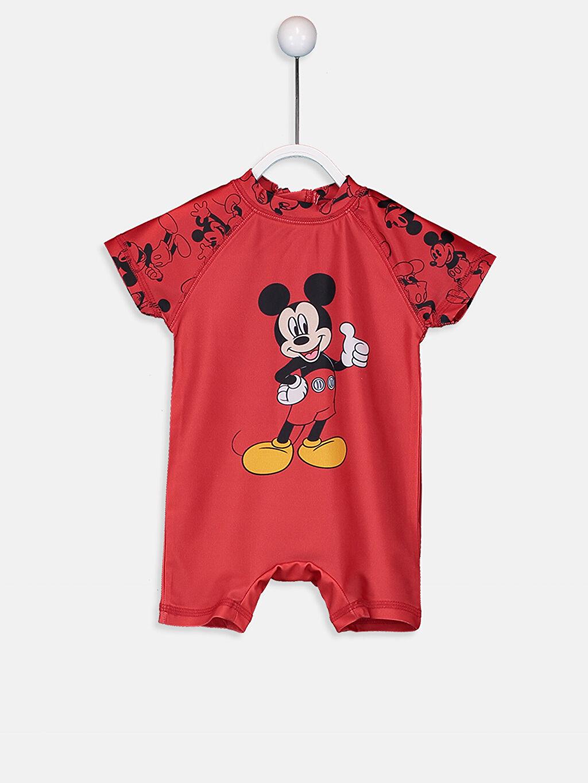 Kırmızı Erkek Bebek Mickey Mouse Baskılı Tulum Yüzme Giyim 9SV572Z1 LC Waikiki