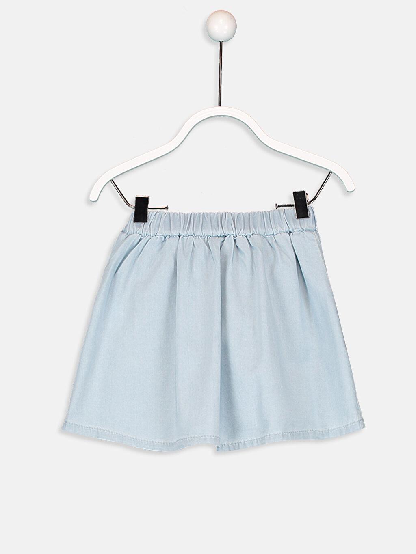 %100 Pamuk Düz Normal Bel Jean Etek Aksesuarsız Standart Kız Bebek Jean Etek
