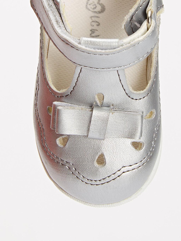 Gri Kız Bebek İlk Adım Cırt Cırtlı Ayakkabı