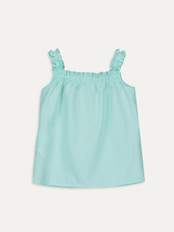%100 Pamuk Düz Standart Kısa Kol Bluz Kız Bebek Poplin Bluz