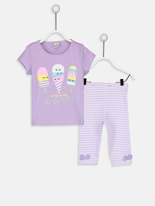 Lila Kız Bebek Baskılı Tişört ve Şort 9SB102Z1 LC Waikiki