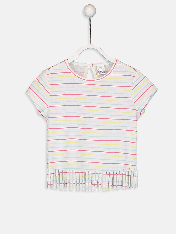 Sarı Kız Bebek Pamuklu Çizgili Tişört 9SB468Z1 LC Waikiki