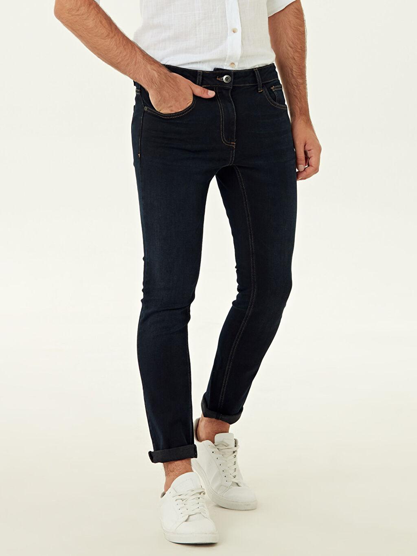 %99 Pamuk %1 Elastan Normal Bel Astarsız Dar Beş Cep Jean 750 Slim Fit Jean Pantolon