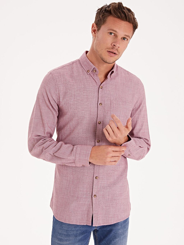 %100 Pamuk Düz Düğmeli Gömlek Yaka Gömlek Dar Uzun Kol Slim Fit Uzun Kollu Poplin Gömlek