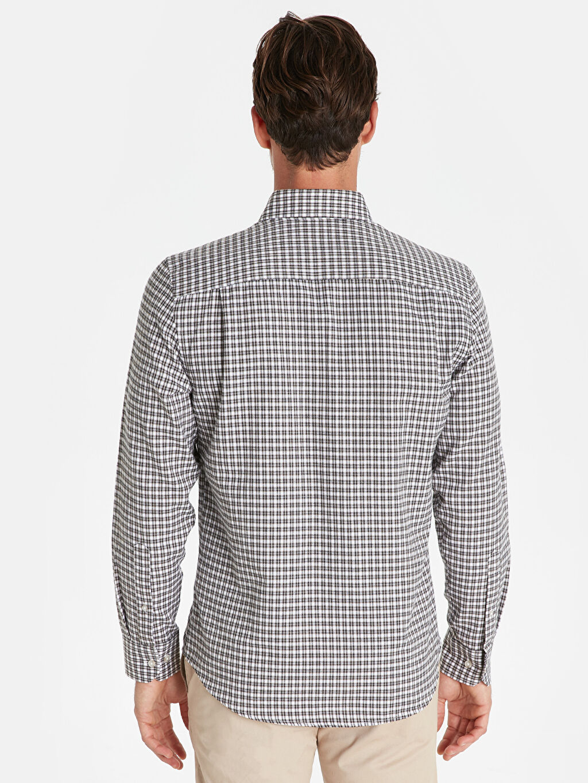 %55 Pamuk %45 Polyester Gömlek Ekose Standart Patlı Uzun Kol Düğmeli Gömlek Yaka Gabardin Regular Fit Ekose Uzun Kollu Gömlek
