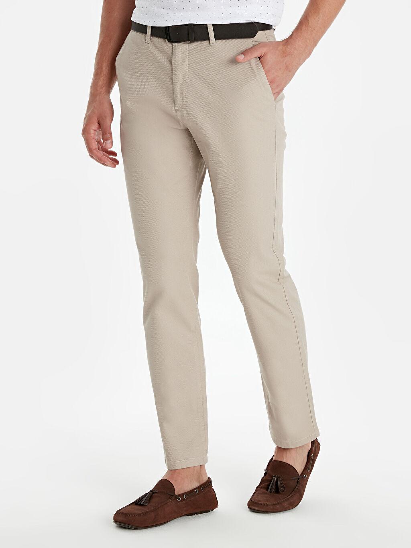 %100 Poliüretan %97 Pamuk %3 Elastan Uzun Pantolon Düz Kemer Standart Normal Bel Standart Kalıp Armürlü Pantolon