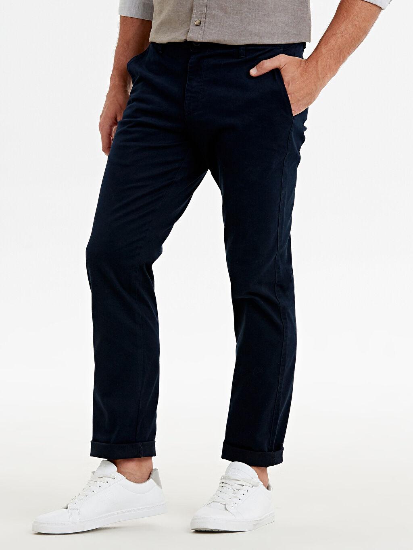 %97 Pamuk %3 Elastan Gabardin Chino Pantolon Düz Normal Kalıp Gabardin Chino Pantolon