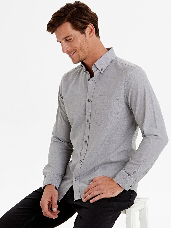 Gri Regular Fit Uzun Kollu Oxford Gömlek 9W1094Z8 LC Waikiki