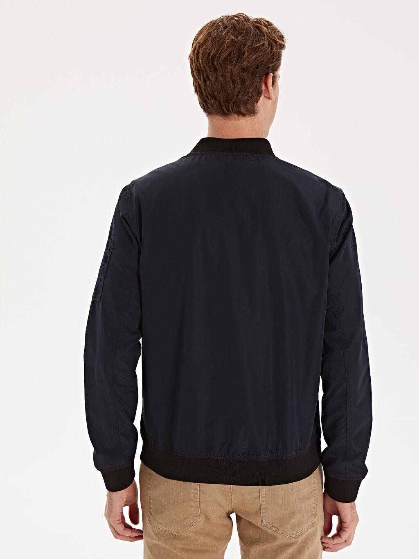 %100 Polyester Slim Fit Kolej Yaka Bomber Mont