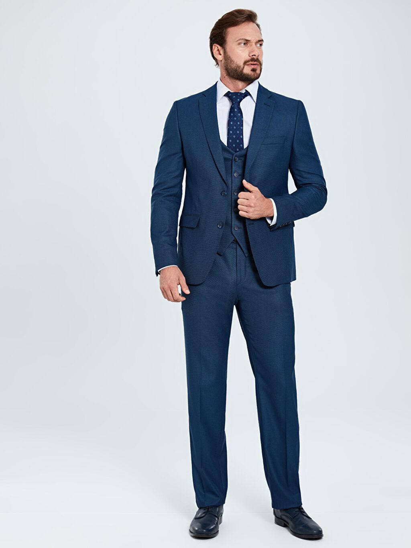 Erkek Standart Kalıp Desenli Takım Elbise Ceketi